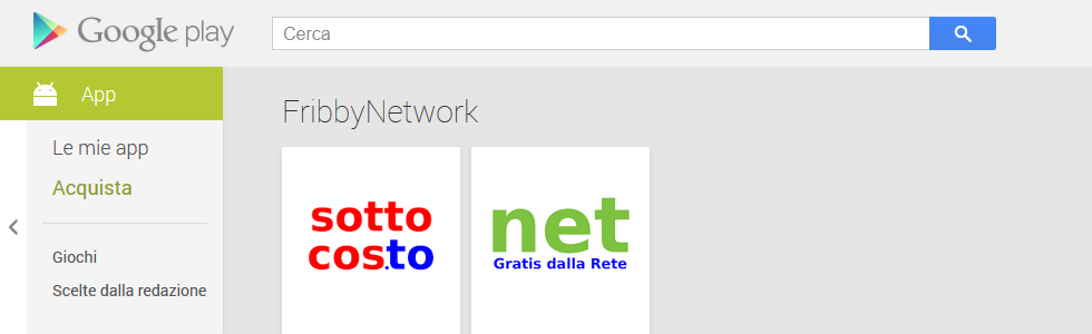 Applicazioni Android FribbyNetwork